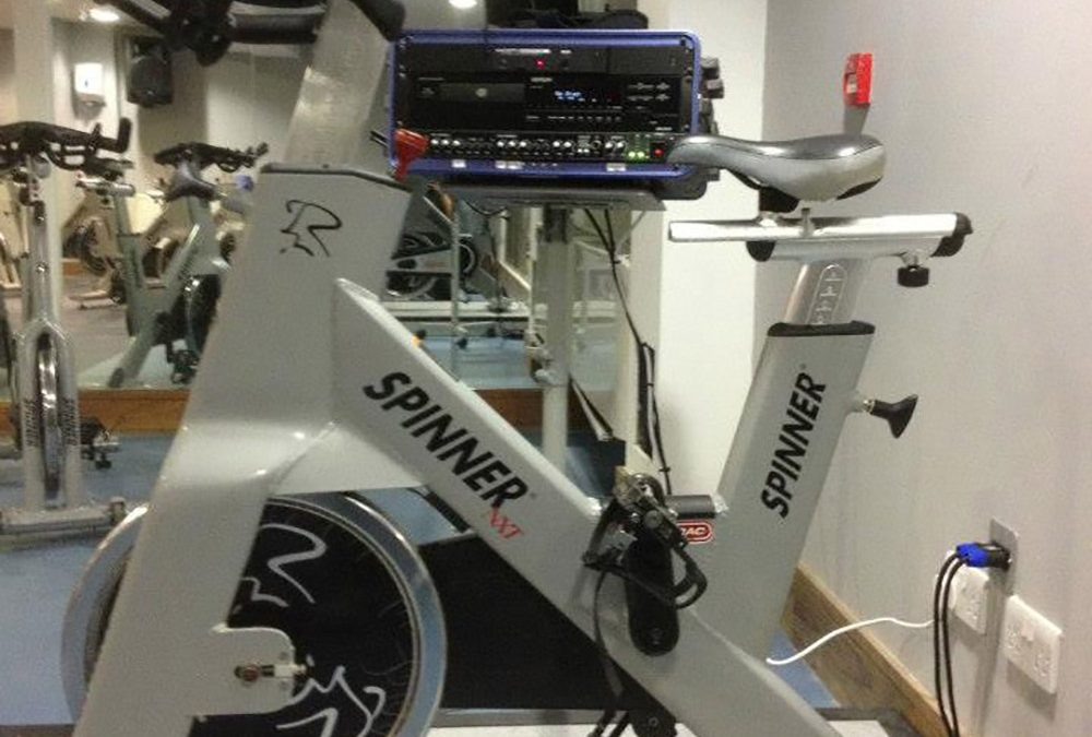 Here we supplied an Instructor system mounted on a podium for use in Spin classes. The podium gives the instructor control of the music and microphone, whilst on the bike. It can also be wheeled out of the way when not in use.